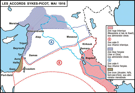 Carte Accords Sykes-Picot, mai 1916