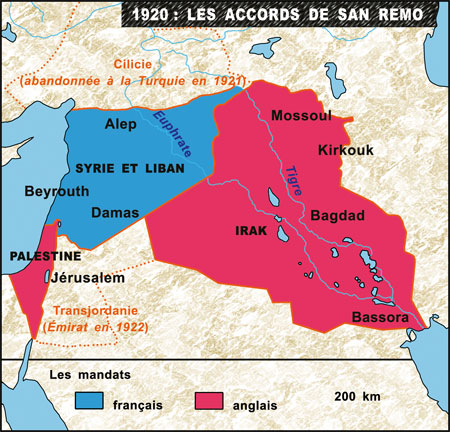 Carte des accords de San Remo en 1920